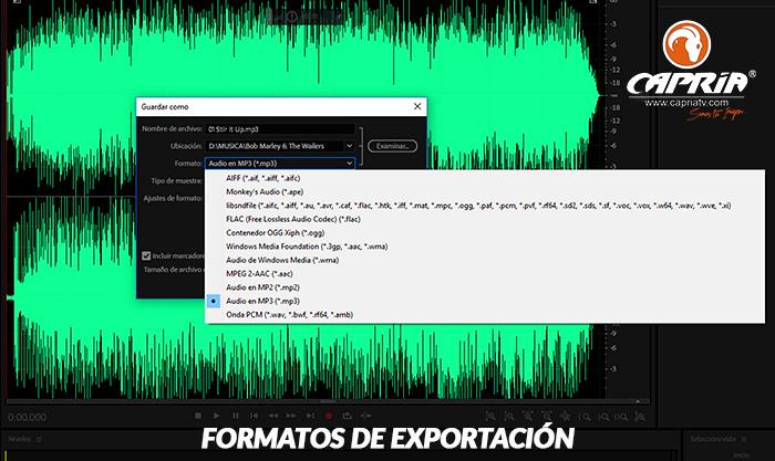 formato de salida audio CAPRIATV