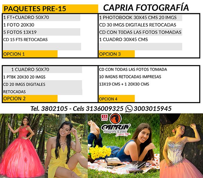 PAQUETES CAPRIA PRE-15 FOTOGRAFIA 2019 SP