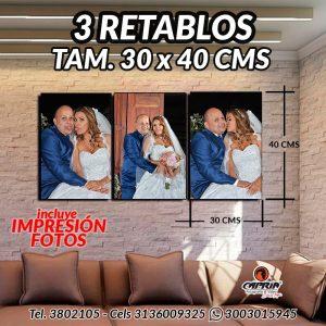 3 Retablos 30X40 CMS CALI