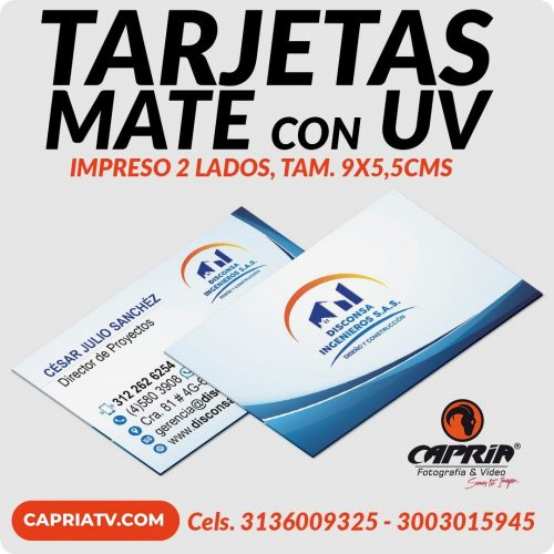 IMPRESION 1000 TARJETAS MATE 2 LADOS R 2020