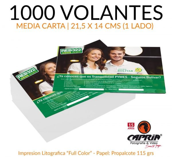 1000 VOLANTES MEDIA CARTA CALI