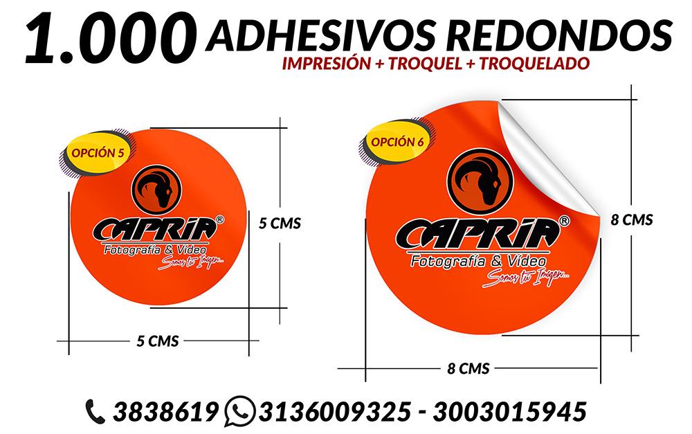 IMPRESION ADHESIVOS CON TROQUEL REDONDO 2 OPCION