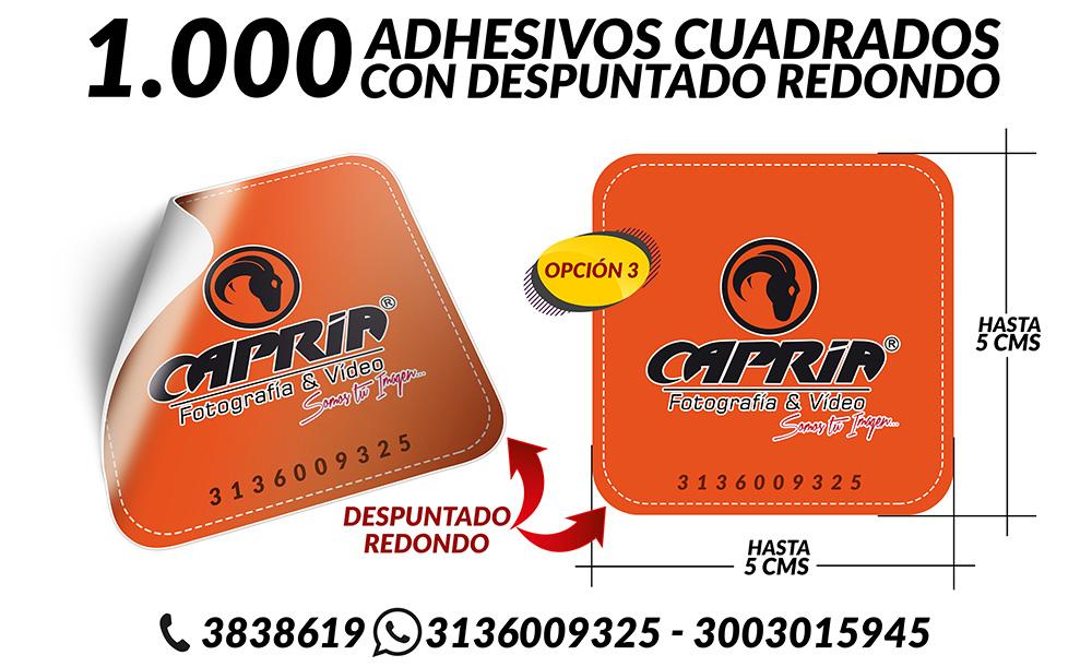 IMPRESION ADHESIVOS CUADRADO CON DESPUNTADO REDONDO 2 OPCION