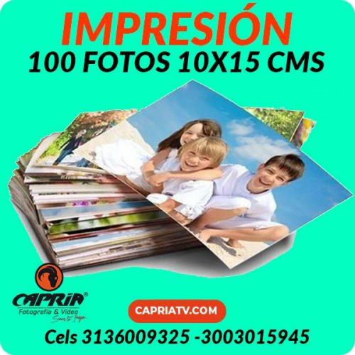IMPRESION 100 FOTOS 10x15 CALI