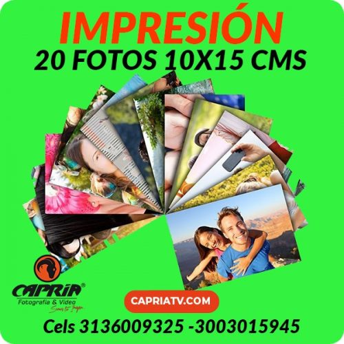 IMPRESION 20 FOTOS 10x15 CALI