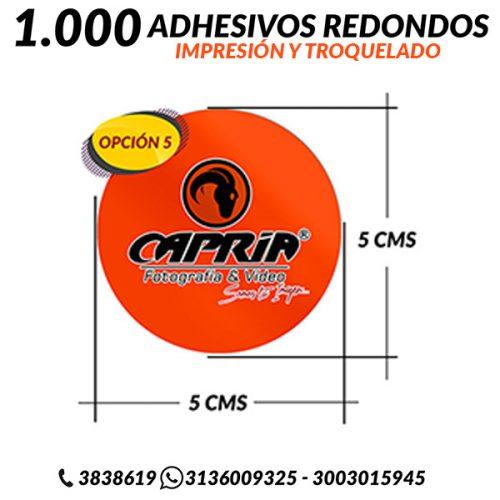 IMPRESION ADHESIVOS CON TROQUEL REDONDO 5 CMS