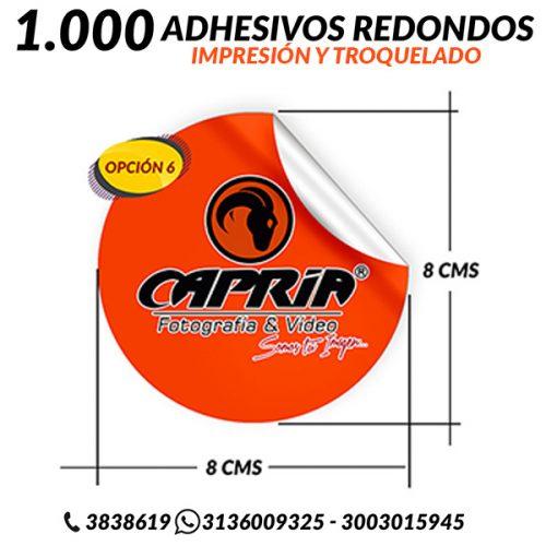 IMPRESION ADHESIVOS CON TROQUEL REDONDO 8 CMS